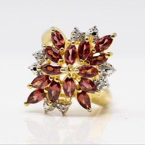 TECHNIBOND Gold Plate 925 Diamond Chip Garnet Ring